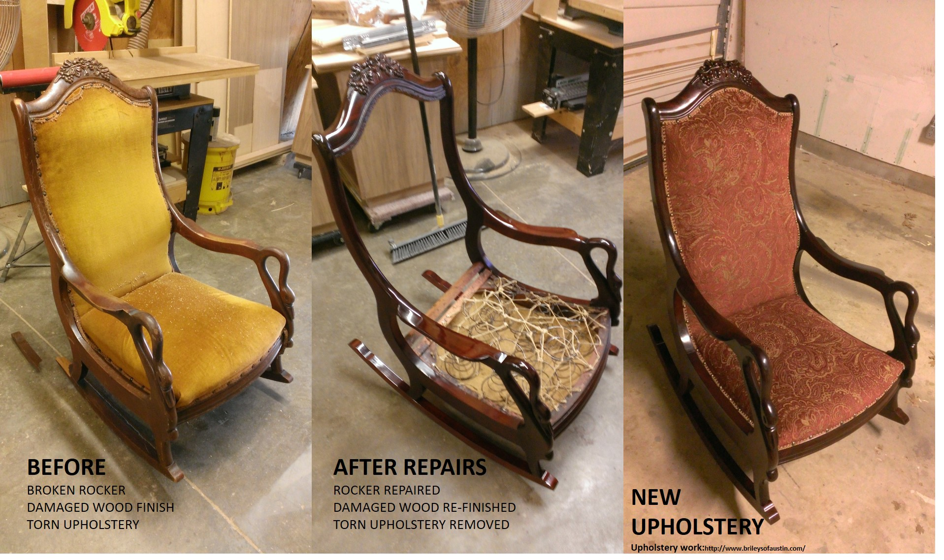 Image of a rocking chair before the refinishing by Austin Joinery