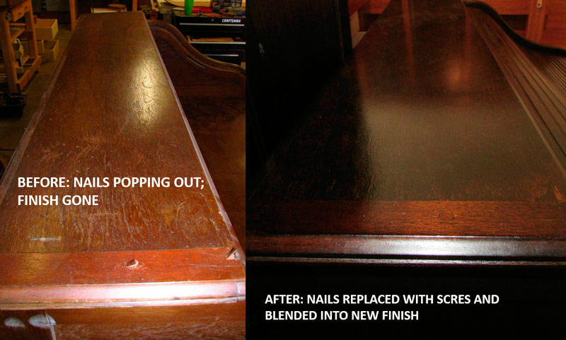 Before and after view of furniture refinishing by Austin Joinery