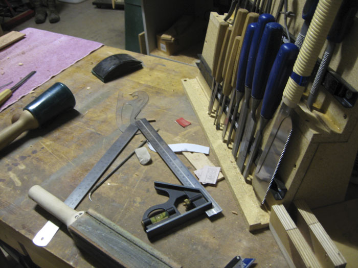 This is a photo of the build process of the Trinity Entry Table by Austin Joinery.