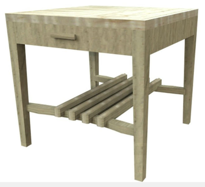 Image of the build process for the Custom Oak and Curly Maple Living Room Set