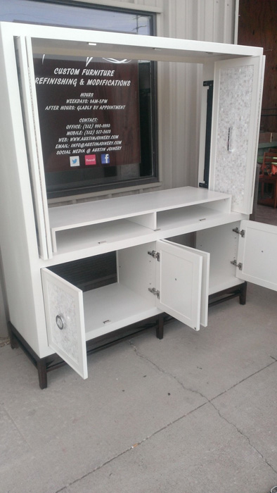 Image of our Custom Media Console built in sunny Austin, Texas.