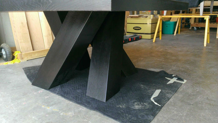 Photo of Austin Joinery's Handmade Modern Dining Set furniture build process.