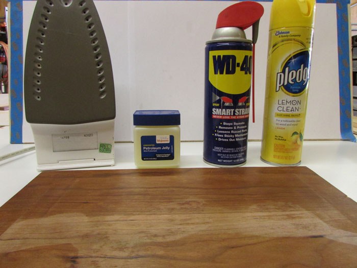 This is an image of the chemicals used for removing a watermark from furniture - from the blog of Austin Joinery.