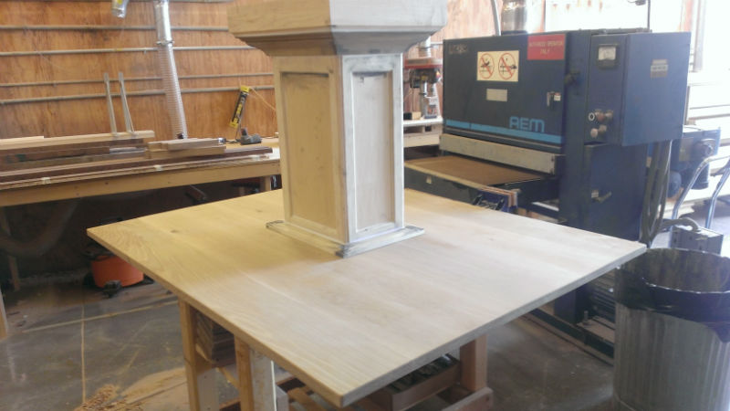 Handmade White Oak Banquette Table by Austin Joinery