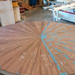 Laying out rosewood veneer in a radial pattern