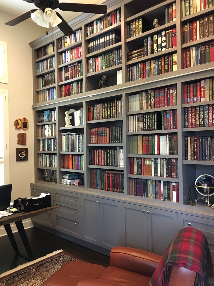 We built a custom wood bookshelf for Chris in Georgetown, Texas.