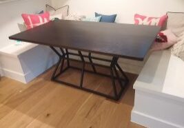 Banquette Table with Metal Base